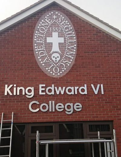 king edwards college cut brushed metal sign